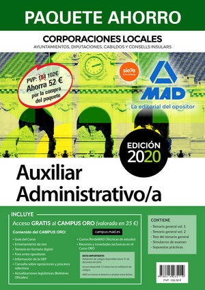 PAQUETE AHORRO AUXILIAR ADMINISTRATIVO DE CORPORACIONES LOCALES. AHORRA 62 € (IN